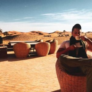 That's Me! Sipping delicious coffee in the Sahara Desert, Morocco