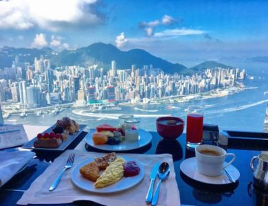 Breakfast with an amazing view in Hong Kong