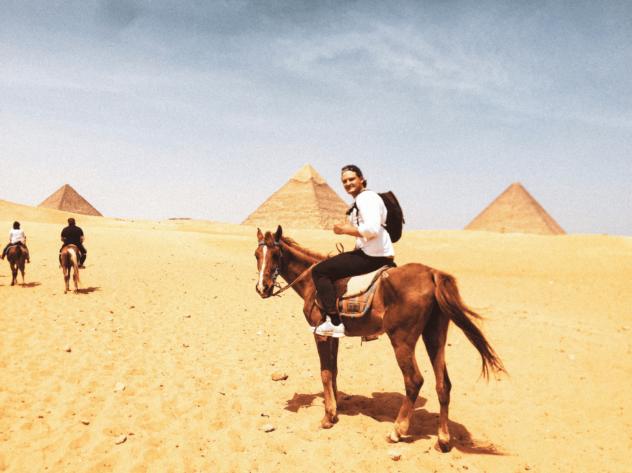 Riding the Pyramids of Giza, Egypt