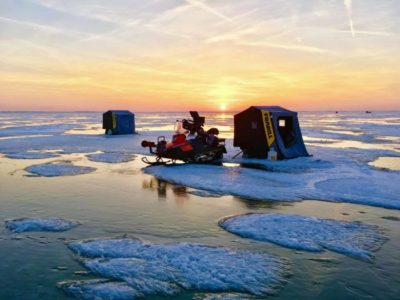 Ice fishing on the Great Lakes of Michigan