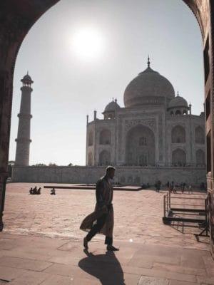 Soaking up the serene beauty at the Taj Mahal, India
