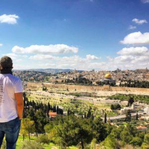 Standing where Jesus Christ stood on the Mount of Olives, Jerusalem