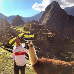 Meeting the llamas at Machu Picchu, Peru