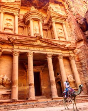 Visiting Petra, one of the 7 New Wonders of the World, in Jordan