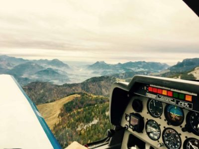 Soaring over the Austrian Alps in a glider plane
