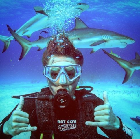 Diving with sharks in the Bahamas!