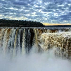 Stunning scenery at Iguazu Falls, which lies neatly on the border between Argentina and Brazil in South America